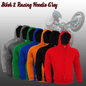 Men Motorcycle Motorbike Racing Fleece Hoodie Protective Lining Removable Armors