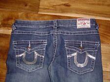 True Religion Jeans Joey Super T Med.Blue, Silver Sequin Horseshoe Pockets Sz 29