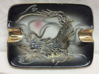 """Vintage Porcelain Ashtray By Cage Asian Art Dragon Made in Japan 4 1/4 X 3 1/4"""""""
