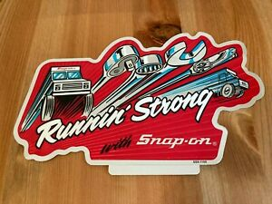 Snap-On Tool Box Reflective Silver Vintage Running Strong Sticker Decal 7.5in