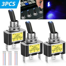 3Pcs Rocker Lighted Toggle Switch LED 30A 12V DC SPST ON/OFF 3Pin for Car Boat