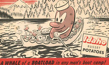 Postcard-Big Potato rowing boatload of sailors-Whale of a boot camp boatload