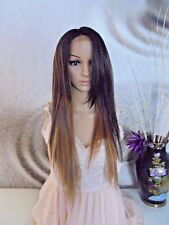 Human hair blend Ombre Mixed Dark Brown  27 with Blonde Lace Front wig