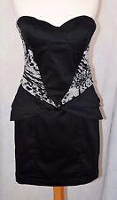 LIPSY Size 12 Gorgeous Strapless Black Mini Dress LBD  Animal Print Detail *VGC