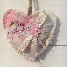 Vintage Fabric Shabby Chic Hanging Heart Wedding Pink Cream Door Hanger X 1