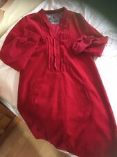 🍂LAURA ASHLEY UK14 Eur 40 AUTUMN DARK RED fine CORD TUNIC TOP DRESS ruffled EXC