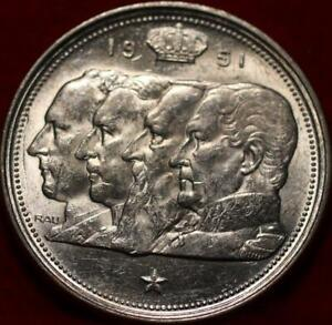 Uncirculated 1951 Belgium 100 Francs Silver Foreign Coin