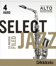 1 Box of 10 D'Addario/Rico Select Jazz Reeds Filed Alto Sax 4-Hard 4H RSF10ASX4H