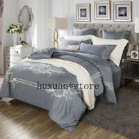 Luxury Egypt Cotton Style Bedding Set Embroidery Silky Duvet Cover Bed Sheet New