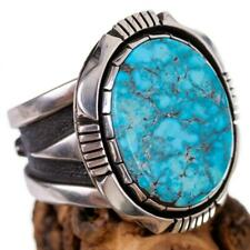 Native American Turquoise Ring Sterling Silver Natural COOPER WILLIE  11.5 MENS