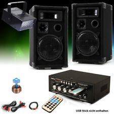 PA Party Kompakt Musikanlage Boxen Verstärker USB MP3 SD Bluetooth Disco Strobe