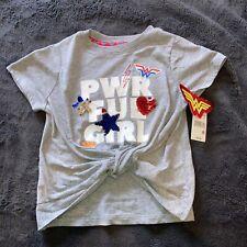Girls Wonder Woman Twist Front Short Sleeve T-Shirt Gray Size Med 7-8