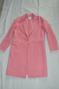 Sandro Paris Light Pink Wool Long Singular Button Trench Coat Womens EU 40 UK 12