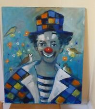 """Vintage Clown with Birds Painting 1970s Georges Cheber 21 1/2 X 26"""""""