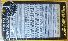 Woodland Scenics #751 Black - Dry Transfer Alphabet & Numbers - Stencil/Block