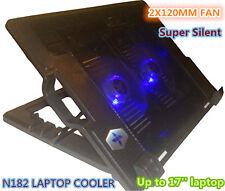 """14''-17"""" Laptop USB 2X120MM Big Fan Cooling Cooler Pad Silent N182 OZ Seller"""
