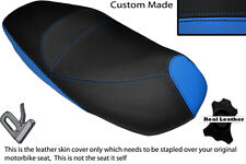 BLACK & LIGHT BLUE CUSTOM FITS PIAGGIO CARNABY 125 DUAL LEATHER SEAT COVER