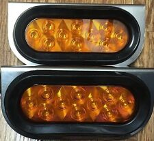 Pair of Light Brackets with 6 inch Oval Amber LED Lights Truck Trailer