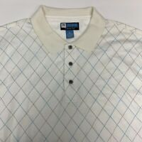 Jos. A. Bank Golf Polo Shirt Mens 2XL XXL Short Sleeve White Argyle Cotton Blend