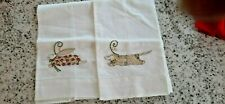 Patience Brewster - Mackenzie Childs - Pair Of Hand Towels - Dog And Rabbit Stit