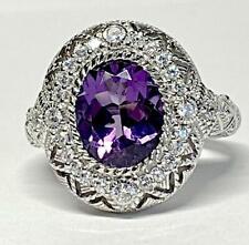 Eye-Popping Judith Ripka Deep Purple Amethyst & CZ Diamonique Ring Sz 8