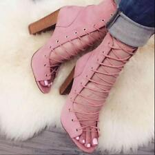 Ladies Leather Suede Peep Toe Lace Up Ankle Sandals Boots High Chunky Heel Shoes