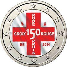 Belgien 2 Euro Münze 150 Jahre Rotes Kreuz 2014 Stgl Gedenkmünze in Farbe
