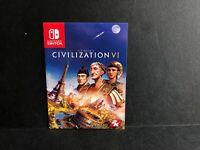 Civilization VI 6 Waranty Information Insert Nintendo Switch ONLY Authentic