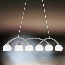 Wofi Pendelleuchte Lynn 6-flg Nickel Glas Kugel 3/4 weiß 198 Watt 2760 Lumen