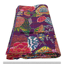 Bohemian Floral Print Indian Single Kantha Quilts Cotton Throw Blanket Handmade