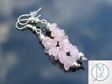 Rose Quartz Natural Chip Gemstone Earrings Drop Quartz Crystal Chakra Healing