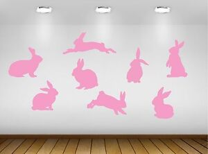 Set of 8 Rabbit Bunny Vinyl Wall Stickers Decals