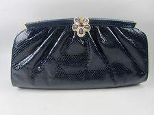Judith Leiber Navy Blue Lizard Leather Clutch Shoulder Bag with Jewel Clasp EUC