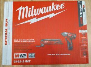"Milwaukee 2462-21MT M12 1/4"" Hex Impact Driver & Multi-Tool Kit w/ Battery NEW!!"