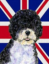 Portuguese Water Dog with English Union Jack British Canvas House Flag