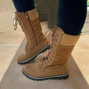 Womens Fashion Round Toe Lace Up Flats Casual Mid Calf Boots Ridng Combat Shoes