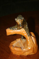 Wood Carving Wood Carved Folk Art Bear Ashtray and Match Holder French Canadian