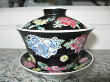 BOL A SAUCE COUVERCLE Porcelaine CHINE décor FLEURS SUR FOND NOIR