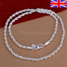 """925 Sterling Silver Rope Necklace Chain Link Twisted 22"""" 925 Free Gift Bag"""