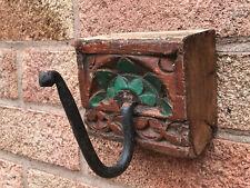 Antique Vintage Indian Large Carved Wooden & Iron Coat Hook Green Rajasthan 11