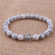 8mm White Turquoise Stone Silver Turtle Beaded Stretch Bracelet Fashion Jewelry