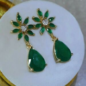 18k GF Green Emerald Drop Dangle Earrings Made With Swarovski Crystals, Boxed