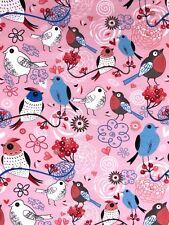 Jersey Stoff Kinderstoff Liebe Vögel rosa  Breite 150 cm ab 50cm