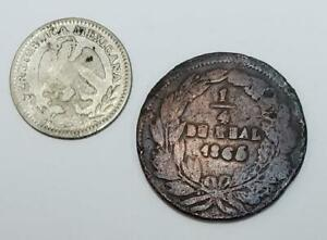 1/4 Real and 1 Real 1858 and 1865 Copper and Silver