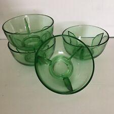 Vintage 1940s Green Cambridge Glass Shrimp Cocktail Bowls