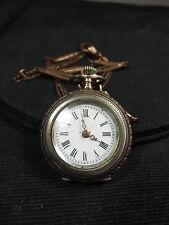 800er Silber Damentaschenuhr mit Messinguhrenkette, Messingzeiger, schöner verzi