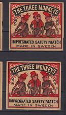 Ancienne étiquette de paquet allumettes Suède AZ4233 Trois Singes 2