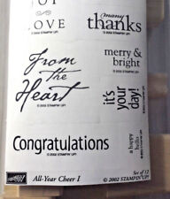 Stampin Up All Year Cheer I Holiday Sentiments Multi Font Love Word Rubber Stamp