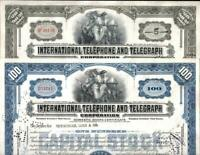 100 CRISP ITT (INTERNATIONAL TELEPHONE TELEGRAPH) STOCKS! OLDEST TYPE! CV $20 EA