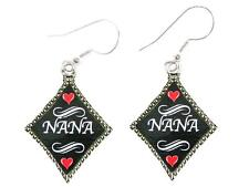 Nana Silver Diamond Wire Hook Earrings Jewelry Family Gift Grandmother